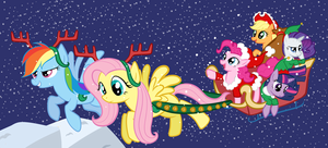 Fluttershy and রামধনু Dash Pulling a Sleigh