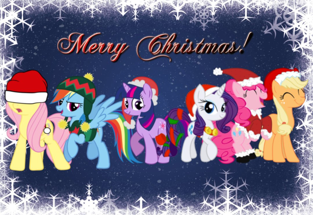 my little pony friendship is magic images merry christmas from the mane 6 hd wallpaper and background photos