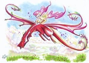 Fluttershy Riding a Dragon