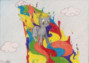 Derpy Hooves Rainbow Surfing