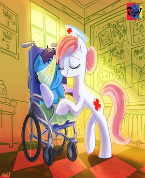 Nurse Redheart Caring for a Filly