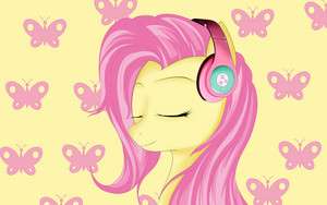 Fluttershy with Headphones on