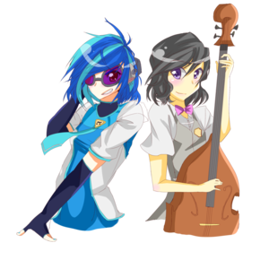 Octavia and Vinyl Scratch as Humans
