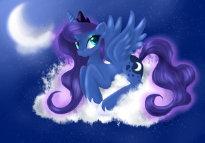 Princess Luna Sitting on a đám mây