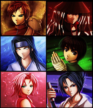 Gaara,Itachi,Neji,Lee,Sakura and Sasuke