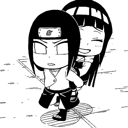Naruto wallpaper possibly containing a street and anime entitled Naruto Sd Neji and Hinata
