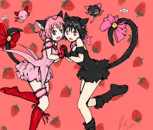 Neko anime Characters karatasi la kupamba ukuta with anime called Ichigo and Hime