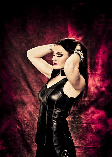 Nightwish karatasi la kupamba ukuta possibly with a concert, a bustier, and a chajio, chakula cha jioni dress called Floor Jansen, Nightwish as of 2014