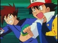Gary, Ash, and Pikachu springing into action - pokemon photo
