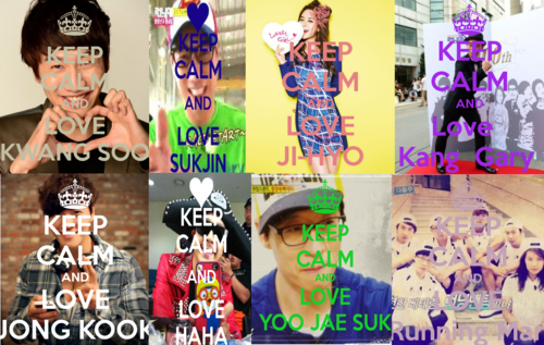 Running Man (런닝맨) wallpaper probably with a sign called KEEP- CALM -AND- LOVE RM