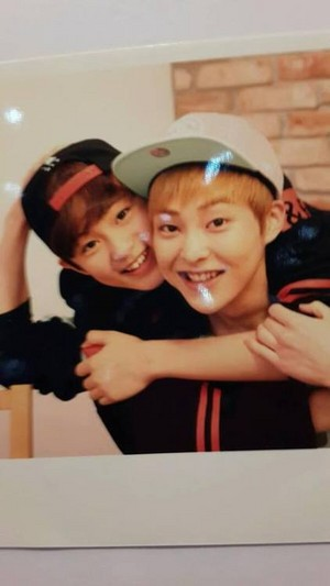 Mark with EXO's Xiumin Polaroid @ SMTOWN WEEK.