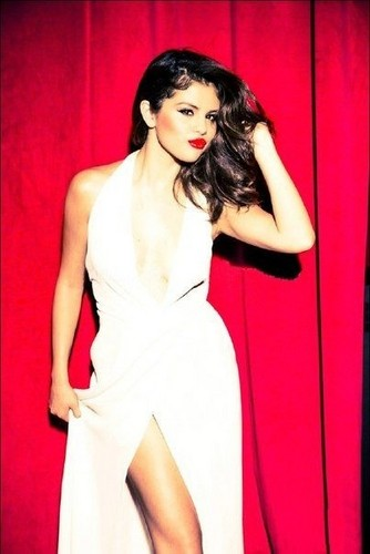selena gomez wallpaper containing a makan malam dress titled Selena Gomez Glamour Magazine