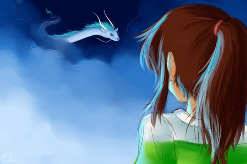 Spirited Away پیپر وال possibly with a portrait entitled Chihiro Sees Haku again