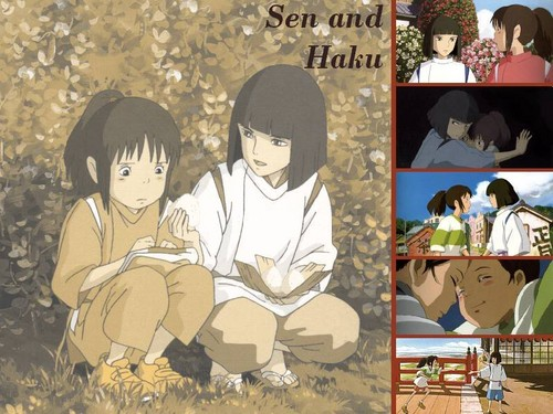 Spirited Away پیپر وال possibly containing عملی حکمت called Sen and Haku ♥