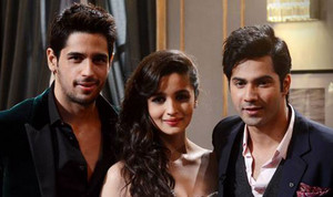 Varun,Alia and Siddharth on Koffee with Karan sets