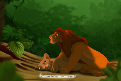 The Lion King kertas dinding called Can anda feel the Cinta tonight - Nala and Simba