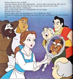 Walt Дисней Book Обои - The Townspeople, Princess Belle, Maurice, The Beast & Gaston