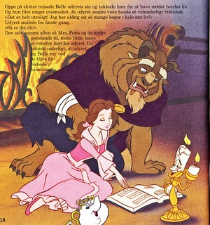 Walt Дисней Book Обои - The Beast, Princess Belle, Mrs. Potts, Chip Potts & Lumière