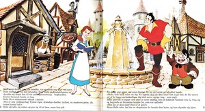 Walt Disney Book Bilder - The Townspeople, Princess Belle, Gaston & Le Fou