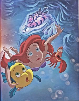 Walt disney Book gambar - Flounder, Princess Ariel & Sebastian