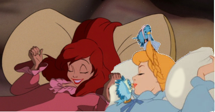 disney crossover wallpaper called cinderella and Ariel sleeping
