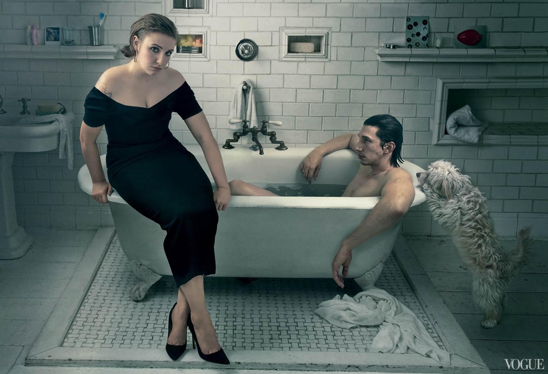 Adam driver images adam driver and lena dunham vogue for Bathroom photoshoots