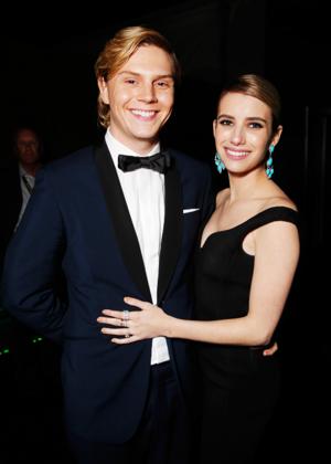 Emma Roberts and Evan Peters @ Golden Globes 2014