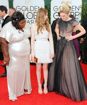 Gabourey Sidibe, Taissa Farmiga and Lily Rabe @ the 71st annual Golden Globe Awards