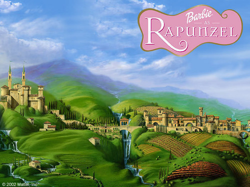 Barbie as Rapunzel wolpeyper with a business district titled Barbie as Rapunzel Poster