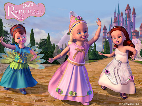 Barbie as Rapunzel wolpeyper probably containing a kirtle, a bridesmaid, and a poloneys called Barbie as Rapunzel Poster