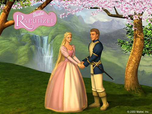 Barbie as Rapunzel wolpeyper possibly containing a bridesmaid, a hapunan dress, and a bouquet called Barbie as Rapunzel Poster