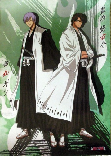 Bleach Anime wallpaper possibly with a sign and anime titled Gin Ichimaru and Sosuke Aizen