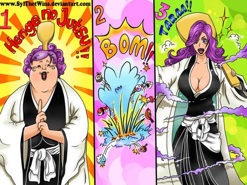 anime ya Bleach karatasi la kupamba ukuta containing anime titled *Kirio Hikifune*
