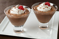 chocolat mousse With Cream and Raspberries