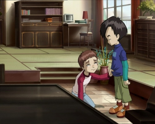 Code Lyoko kertas dinding probably with a dapur and a living room titled Hiroki and Johnny