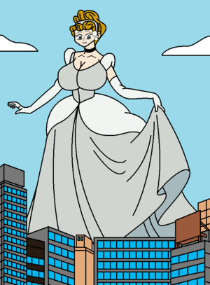 Busty Giantess cinderella in The City