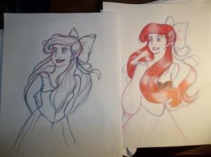 Ariel drawing in process.