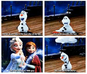 Elsa, Anna, and Olaf