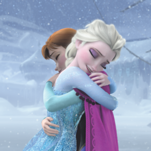 Anna and Elsa hugging