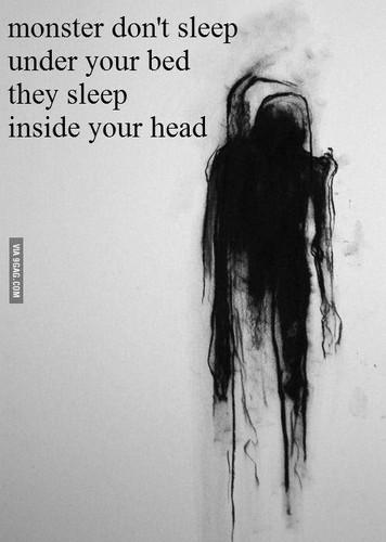 Dream Diary karatasi la kupamba ukuta possibly with a portrait entitled monsters sleep inside your head