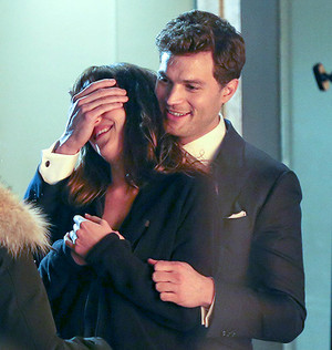 Jamie and Dakota filming Fifty Shades of Grey