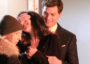 Jamie and Dakota on the set of Fifty Shades of Grey