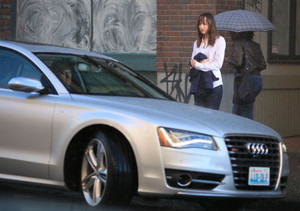 Dakota filming a scene from Fifty Shades of Grey