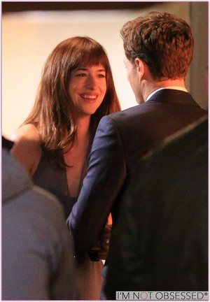 Jamie and Dakota filming a scene from Fifty Shades of Grey