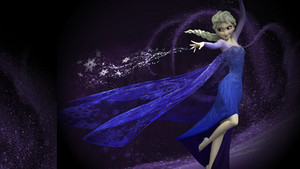 Elsa in blue and in action
