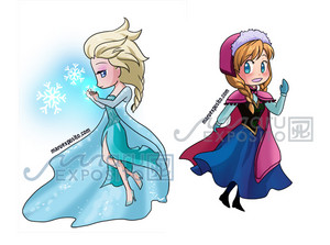 Chibi Anna and Elsa