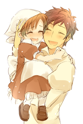 Hetalia Spain fond d'écran titled Spain and Little Romano