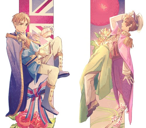Hetalia wallpaper possibly with anime titled England and Japan