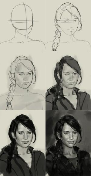 How to draw Katniss