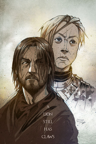 Jaime Lannister fondo de pantalla probably with anime entitled Jaime and Brienne